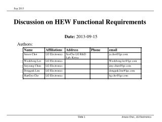 Discussion on HEW Functional Requirements