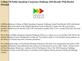College Of Public Speaking Corporate Challenge 2010 Results