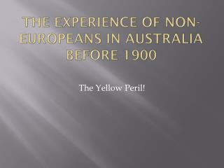 The experience of Non-Europeans in Australia before 1900