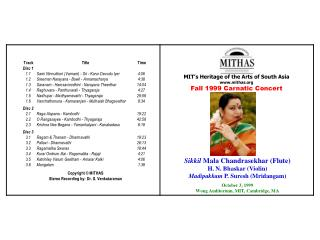 MIT's Heritage of the Arts of South Asia mithas Fall 1999  Carnatic Concert
