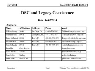 DSC and Legacy Coexistence