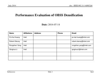 Performance Evaluation of OBSS Densification