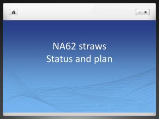 NA62 straws Status and plan