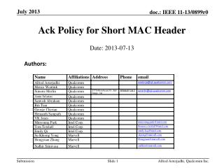 Ack Policy for Short MAC Header