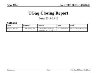 TGaq  Closing Report