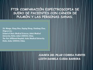 FTIR COMPARACIÓN ESPECTROSCOPIA DE SUERO DE PACIENTES CON CÁNCER DE PULMÓN Y LAS PERSONAS SANAS.