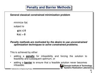 Penalty and Barrier Methods