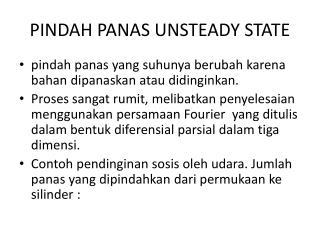 PINDAH PANAS UNSTEADY STATE