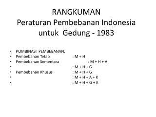 RANGKUMAN Peraturan Pembebanan  Indonesia  untuk Gedung  - 1983