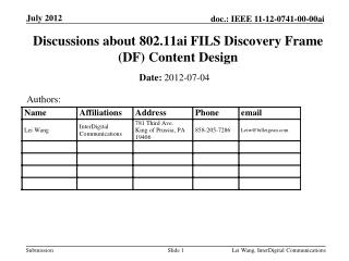 Discussions about 802.11ai FILS Discovery Frame (DF) Content Design