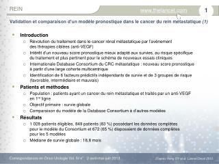 Validation et comparaison d'unmodèle pronostique dans lecancer du rein métastatique  (1)