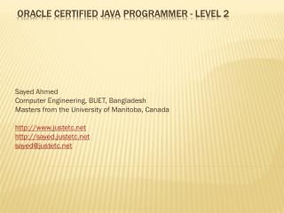 Oracle Certified java programmer - level 2