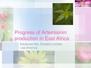 Progress of Artemisinin production in East Africa