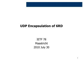 UDP Encapsulation of 6RD