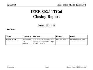 IEEE 802.11TGai Closing Report