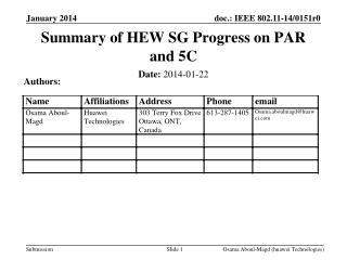 Summary of HEW SG Progress on PAR and 5C