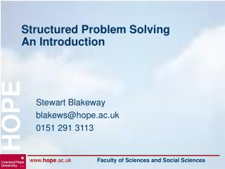 Structured Problem Solving An Introduction