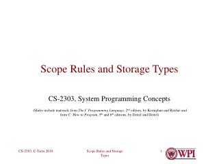 Scope Rules and Storage Types