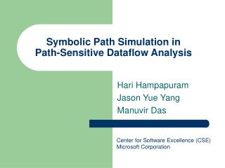 Symbolic Path Simulation in  Path-Sensitive Dataflow Analysis