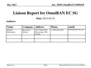 Liaison Report for  OmniRAN  EC SG