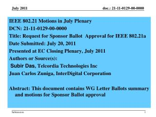 IEEE  802.21 Motions in July Plenary  DCN:  21-11-0129-00-0000