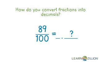 How do you convert fractions into decimals?