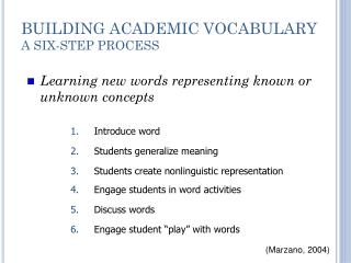 BUILDING ACADEMIC VOCABULARY A SIX-STEP PROCESS