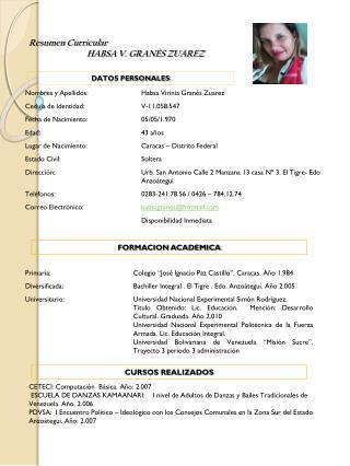 Resumen Curricular HABSA V. GRANÈS ZUAREZ