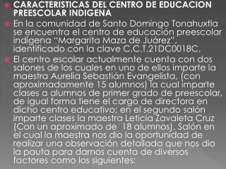 CARACTERISTICAS DEL CENTRO DE EDUCACION PREESCOLAR INDIGENA