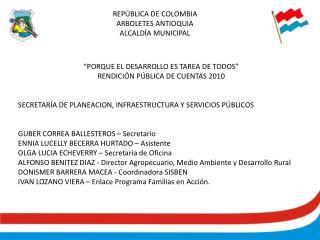 REPÚBLICA DE COLOMBIA ARBOLETES ANTIOQUIA ALCALDÍA MUNICIPAL