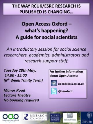 Open Access Oxford –  what's happening? A guide for social scientists