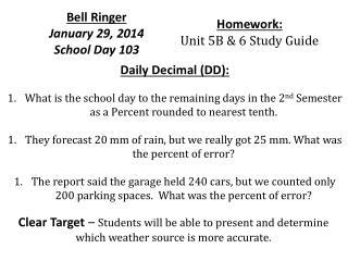 Bell Ringer  January  29,  2014 School Day  103