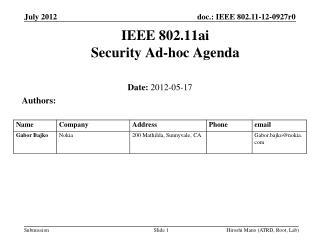 IEEE 802.11ai Security Ad-hoc Agenda