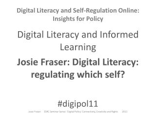 Digital Literacy and Self-Regulation Online: Insights for Policy