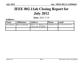 IEEE 802.11ah Closing Report for July 2012