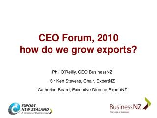 CEO Forum, 2010 how do we grow exports?