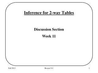Inference for 2-way Tables