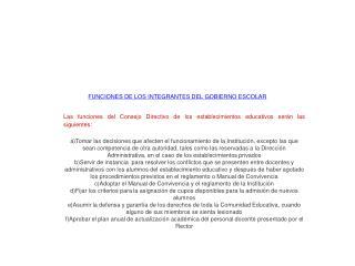 FUNCIONES DE LOS INTEGRANTES DEL GOBIERNO ESCOLAR