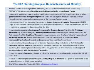 The ERA  Steering  Group on Human  Resources  &  Mobility