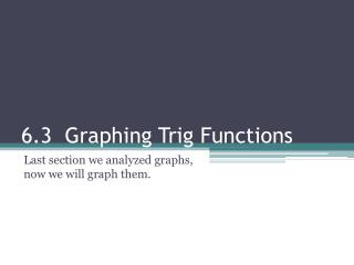 6.3  Graphing Trig Functions