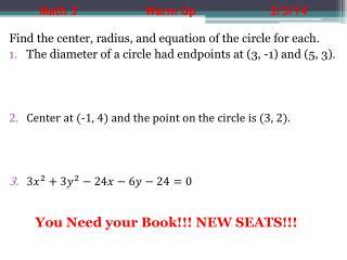 Math 3          Warm Up      3/3/14