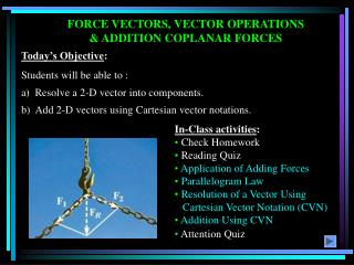 FORCE VECTORS, VECTOR OPERATIONS & ADDITION COPLANAR FORCES