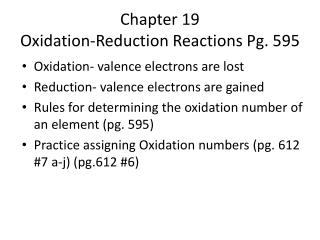 Chapter 19 Oxidation-Reduction Reactions Pg. 595