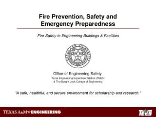 Fire Prevention, Safety and Emergency Preparedness