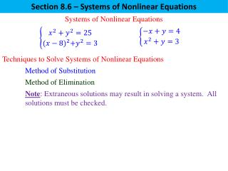 Section 8.6 – Systems of Nonlinear Equations