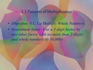 2.1 Patterns of Multiplication