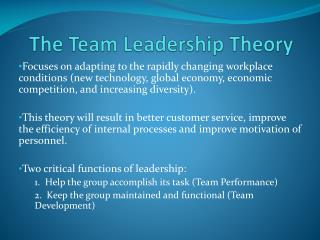 The Team Leadership Theory