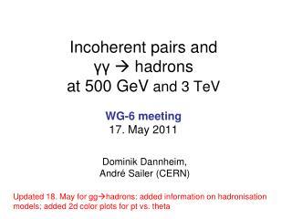 Incoherent pairs and γγ  hadrons at 500  GeV and 3  TeV WG-6 meeting 17. May 2011