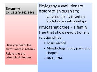 Taxonomy Ch.  18.2 (p.342-346)