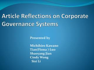 Article Reflections on Corporate Governance Systems